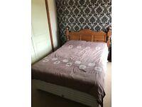 Double Divan Bed & Mattress with Solid Oak Headboard for sale  Castle Donington, Derbyshire