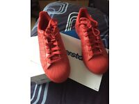 Size 7 1/2 all red adidas superstars