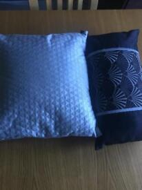 Dunelm silver and black matching cushions