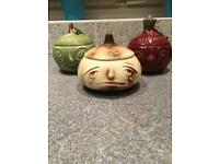 Set of three sylvac face pots onions, beetroot and apple sauce retro vintage