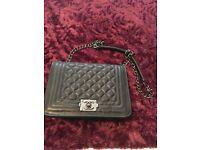 Womens CHANEL style black quilted boy bag handbag *HOT*