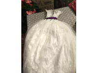 2 x 8 year old Bridesmaid dresses, Ivory silk and chiffon dresses with a purple sash