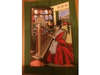 Vintage Tea Towel Featuring Welsh Woman in Traditional Dress