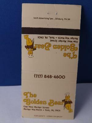 THE GOLDEN BEAR RESTAURANT YORK PA MATCHBOOK MASCOT VINTAGE ADVERTISING