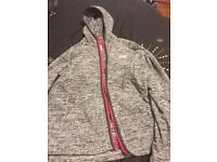 grey & pink ladies north face jacket