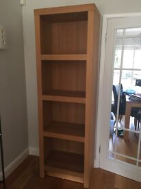 Solid oak shelf unit h200cm x w65cn x d40cm. Will need a van to collect