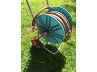 Gardena Hose Reel and Hose with Wheels and Handle