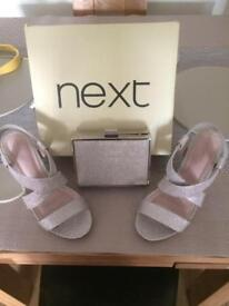 Next shoes and clutch bag £15
