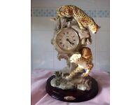 """The Leonardo Collection"" Beautiful Clock with Cheetahs"