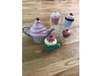 Fun tea party collection cupcakes stand teapot mug and pots