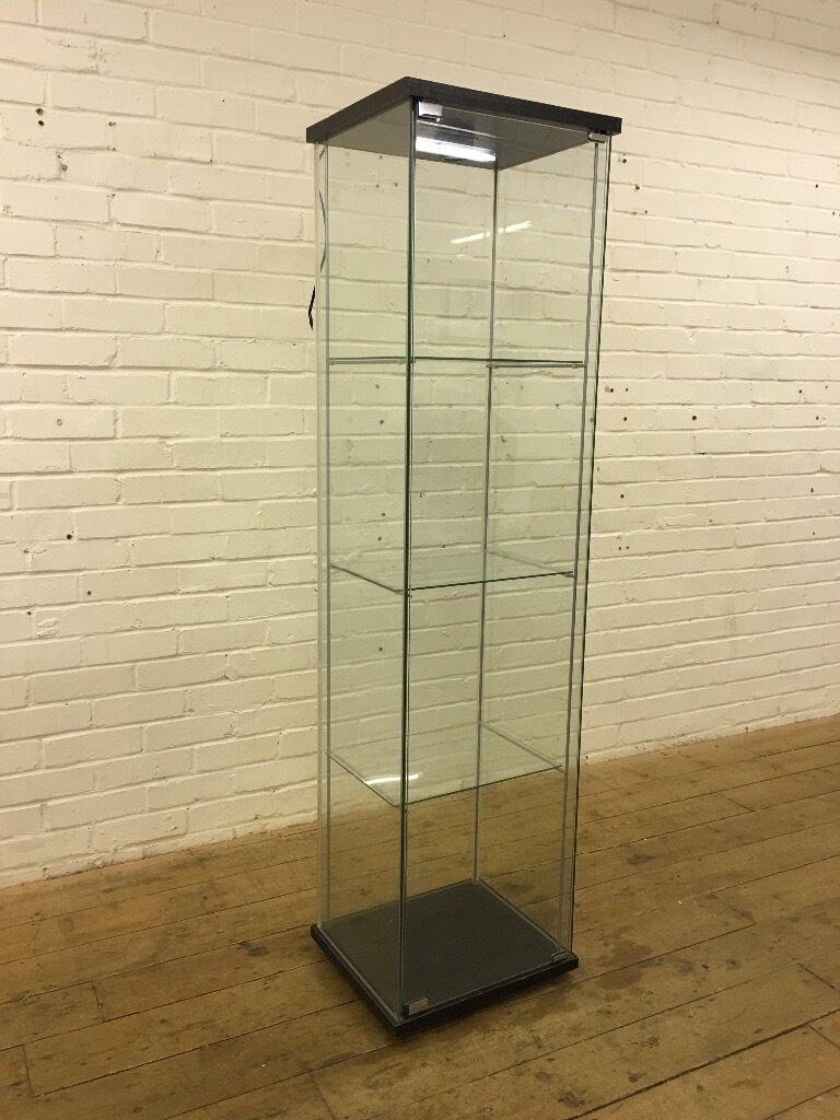 Ikea detolf all glass display cabinet with light fitting - Ikea glass cabinets ...
