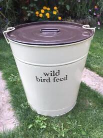 Metal Cream Bird Seed Storage Bin