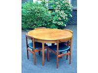 Vintage mid century Danish style Mcintosh teak dining table and 4 chairs