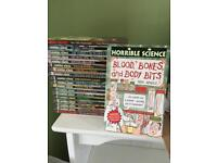 17 Horrible Science books and 2 Horrible History books. Suitable for children.