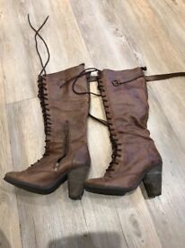 Women's next lace up knee high boots brown leather