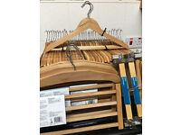 40 x Wooden Clothes Hangers, 5 x Wooden 4 Tier Trouser Hangers, 6 x Wooden Skirt Hangers, NEW