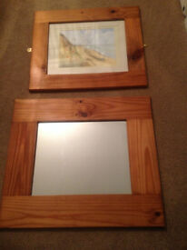 Mirror and watercolour painting matching wooden frames