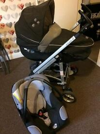 grey and black pram for 50