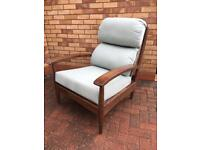 Parker Knoll Style Walnut and Teal fabric Armchair New ex display