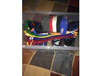Collection of items: trainers, hats, jerseys