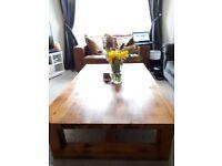 Beautiful solid pine coffee table, handmade. Very large & heavy