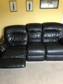 Leather 3 seater settee , reclines