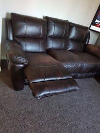 Ex-Harveys 3 seater Leather Look recliner Sofa-Choc0late