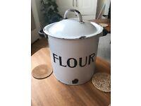 Vintage enamel flour bin - large