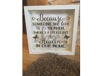 Stunning light up heaven frame with feathers