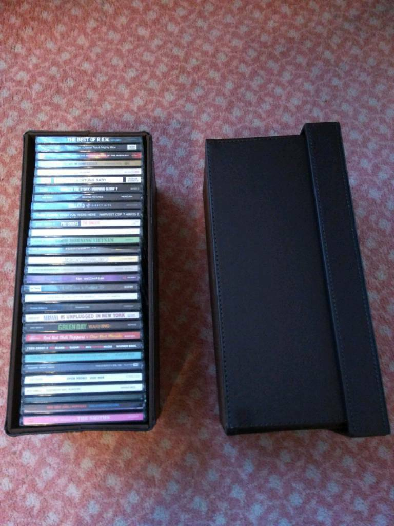 Set of 3 leather CD boxes / holders