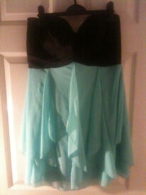 NWOT Jane Norman Size 14 Black & Blue Floaty Dress (Zip Back, Perfect for Christmas)