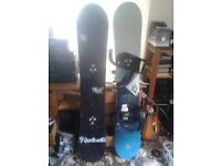 MADE IN CANADA BURTON T6 59 ( RIGHT in picture)SNOWBOARD WITH SUPPORTS BINDINGS-with BAG BAGGED CASE