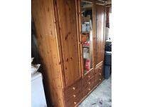 3 door dark wood wardrobe with 9 drawers underneath