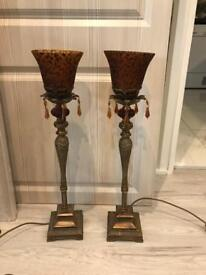 Leopard Print- Amber and antique gold lamps set of 2