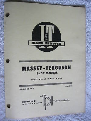 It Massey Ferguson Mf205mf210220 Tractor Shop Manual