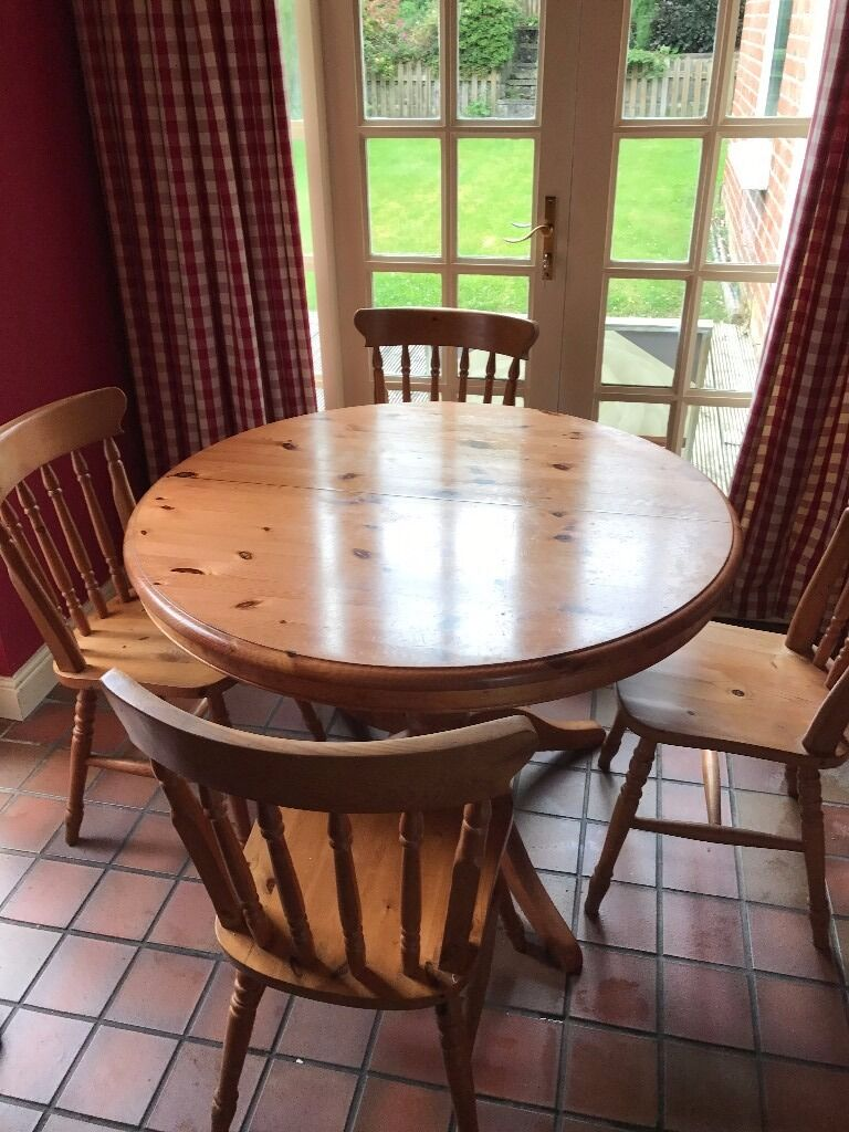 Dining Kitchen Table Solid Wood Pine 4 Chair M Amp S In