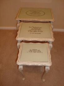 A Vintage Shabby Chic Nest of Tables painted in Annie Sloan