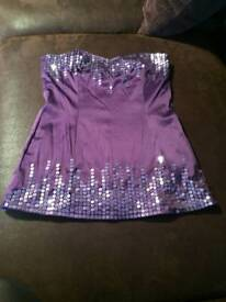 Purple strapless top new look size 8