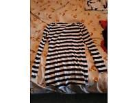 Long black & white stripe top