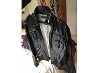 Warhol Factory x Levi's x Damien Hirst - black patent jacket, polka dots, zips on sleeves
