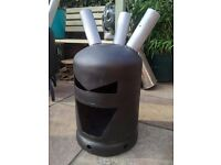 Fire pit garden heater gas bottle log burner