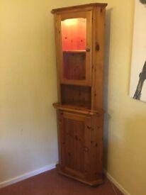 Pine Corner Display Cabinet Corndell