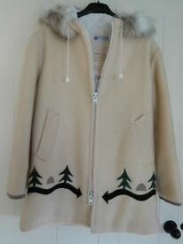 Ladies Pure Wool Cream Eskimo Style Coat