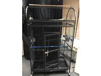 Large parrot cage with play stand