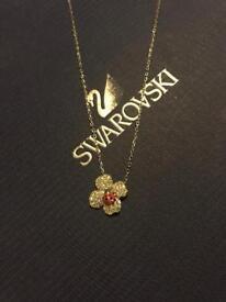 Swarovski lady bug/clover Necklace
