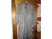 Womans long black / grey wrap coat size 14