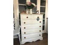 Pine Tallboy Free Delivery Ldn 🇬🇧Shabby chic solid wooden chest of drawers