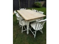 Large chunky pine table and 6 chairs