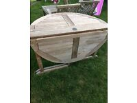Teak garden table and 3 chairs