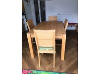 Dining table with 4 chairs and a bench, solid beech wood